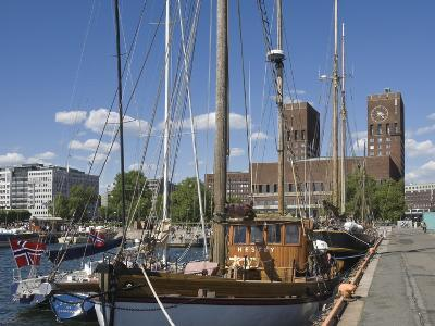 Tall Ships Anchored in Oslo Harbour, the Town Hall in the Background, Oslo, Norway