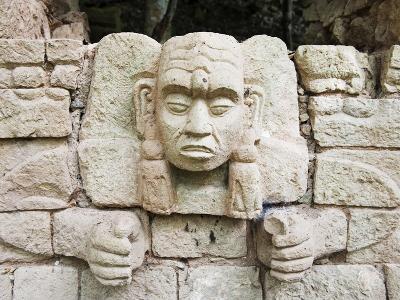 Sculpted Head Stone at Mayan Archeological Site, Copan Ruins, UNESCO World Heritage Site, Honduras