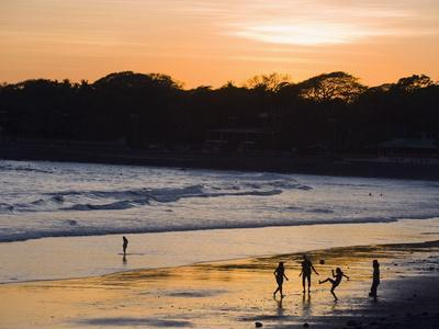 People Playing Football on the Beach at La Libertad, Pacific Coast, El Salvador, Central America