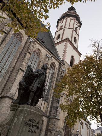 Statue of Bach, Thomaskirche, Leipzig, Saxony, Germany, Europe