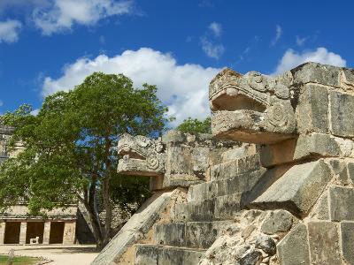 The Snake's Head in Ancient Mayan Ruins, Chichen Itza, UNESCO World Heritage Site, Yucatan, Mexico