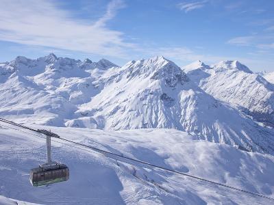 Rufikopf Cable Car, Stubenbach, Lech, Near St. Anton Am Arlberg, in Winter Snow, Austrian Alps
