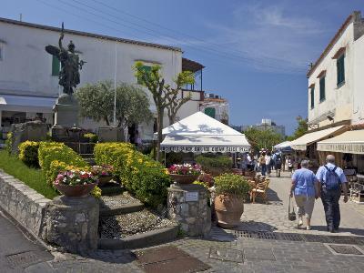 Main Street of Anacapri in Early Morning Summer Sunshine, Isle of Capri, Campania, Italy, Europe