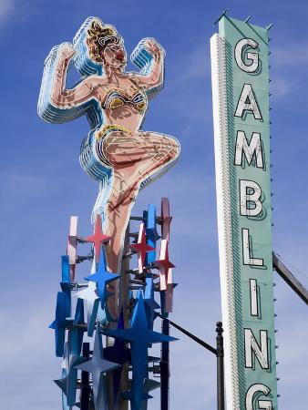 Historic Lucky Lady Neon Sign on Fremont Street, Las Vegas, Nevada