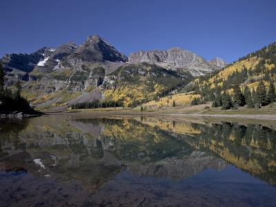 Maroon Bells Reflected in Crater Lake With Fall Color, White River National Forest, Colorado, USA