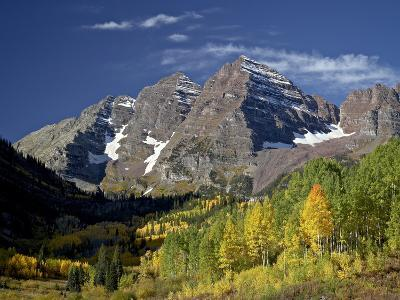 Maroon Bells With Fall Color, White River National Forest, Colorado, USA
