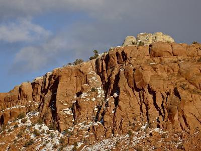 Red Rock Cliff With Snow, Carson National Forest, New Mexico