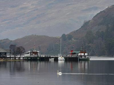 Steamer, Glenridding Pier, Ullswater, Lake District National Park, Cumbria, England, United Kingdom