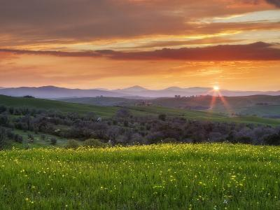 Sunset Over Val D'Orcia, Near San Quirico D'Orcia, Siena Region, Tuscany, Italy, Europe