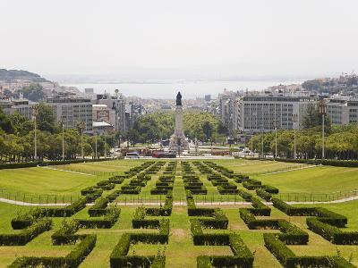 The Greenery of the Parque Eduard VII Runs Towards the Marques De Pombal Memorial in Central Lisbon