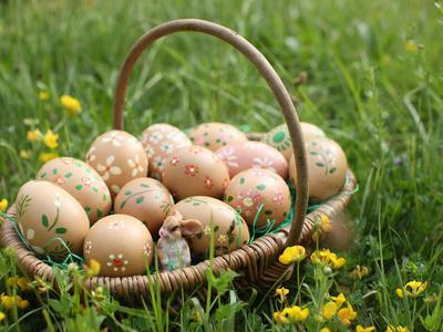 Easter Eggs in a Basket, Haute-Savoie, France, Europe