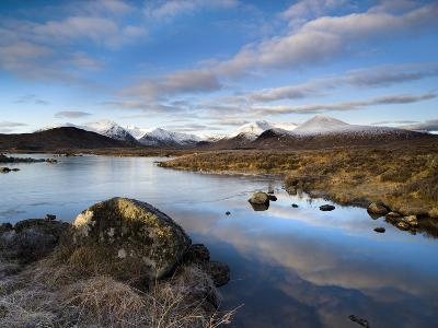Winter View Over Lochain Na H'Achlaise Towards Snow-Covered Black Mount Hills, Scotland