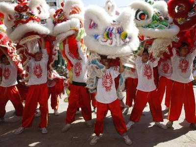 Lion Dance Performers, Chinese New Year, Quan Am Pagoda, Ho Chi Minh City, Vietnam