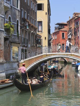 Gondola on a Canal, Venice, UNESCO World Heritage Site, Veneto, Italy, Europe