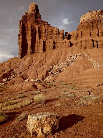 Chimney Rock With Storm Clouds, Capitol Reef National Park, Utah, USA
