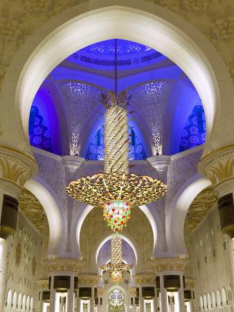 Largest Chandelier in the World Inside Sheikh Zayed Bin Sultan Al Nahyan Mosque, Abu Dhabi