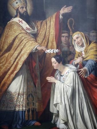 Painting of Saint Medard Crowning a Young Virtuous Girl By Louis Dupre, Saint-Medard Church, Paris
