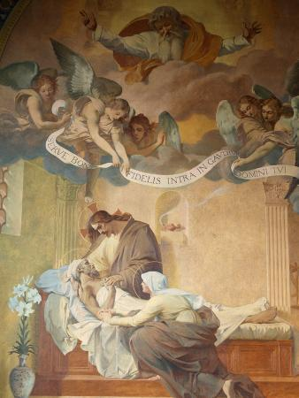 Saint Joseph's Death By Henri Pinta Painted in 1915, Saint-Francois-Xavier Church, Paris, France