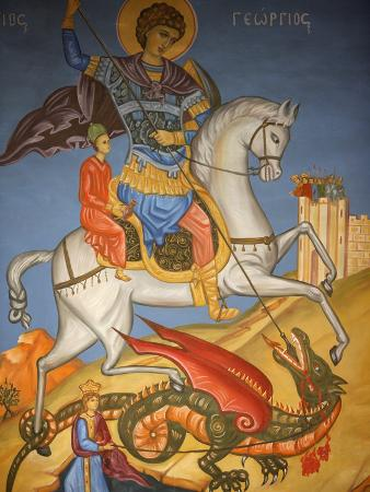 Icon Depicting St. George Slaying a Dragon in St. George's Orthodox Church, Madaba, Jordan