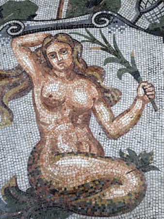 Astral Sign of Virgo in Mosaic in Galleria Umberto, Naples, Campania, Italy, Europe