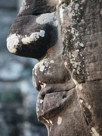 Detail of Stone Face on Towers in the Bayon Temple, Angkor Thom, Cambodia