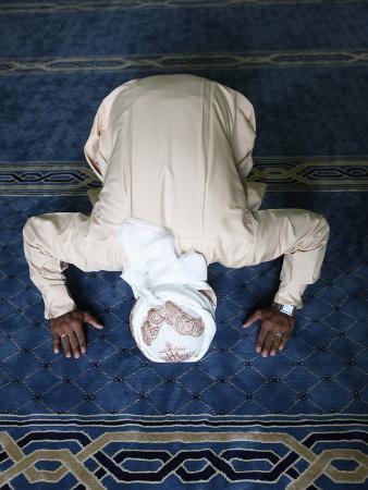 Muslim Man Praying, Dubai, United Arab Emirates, Middle East