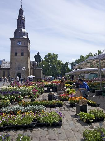 Stortorvet Square With Flower Market and Cathedral (Domkirke), Oslo, Norway, Scandinavia, Europe