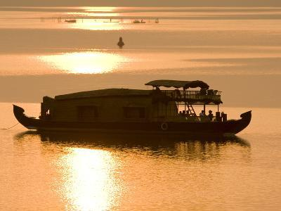Houseboat at Dusk in Ashtamudi Lake, Kollam, Kerala, India, Asia