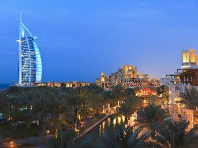 Burj Al Arab Viewed From the Madinat Jumeirah Hotel at Dusk, Jumeirah Beach, Dubai, Uae