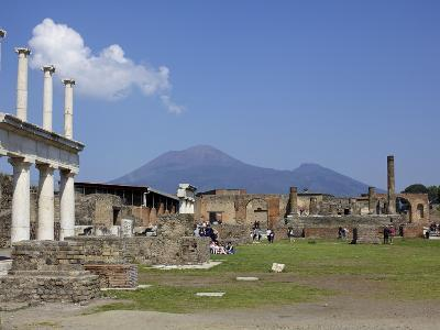View of Mount Vesuvius From the Ruins of Pompeii, Campania, Italy, Europe
