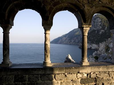 Looking at the Byron Cave From the St. Peters Cloister, Portovenere, Liguria, Italy, Europe
