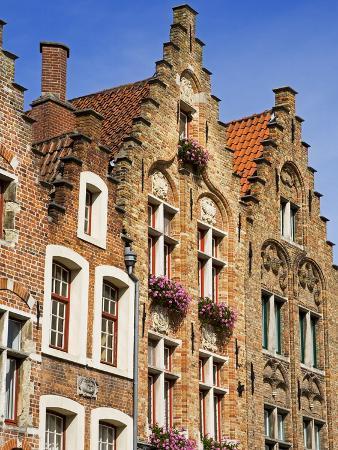 Gothic Buildings on Van Eyck Plaza, Bruges, West Flanders, Belgium, Europe