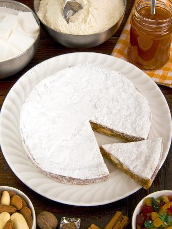 Panforte of Siena, a Traditional Fruit and Nut Cake For Christmas, Tuscany, Italy, Europe