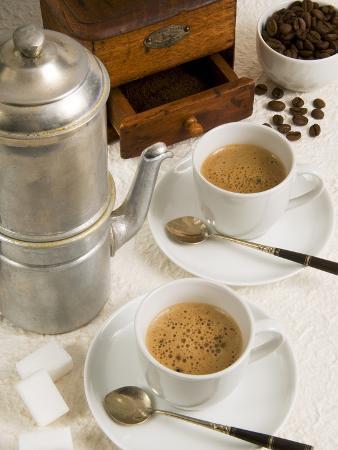 Neapolitan Coffee, Neapolitan Coffee Machine and Coffee Grinder, Naples, Campania, Italy, Europe