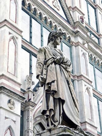 Statue of Dante Alighieri, Santa Croce, Florence, UNESCO World Heritage Site, Tuscany, Italy