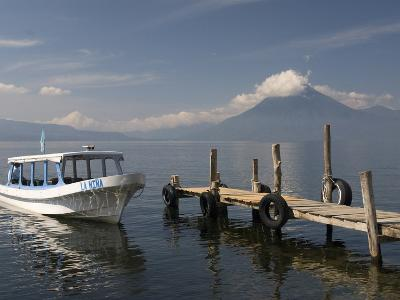 Tour Boat Near Panajachel, San Pedro Volcano in the Background, Lake Atitlan, Guatemala
