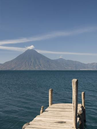 A Jetty in Panajachel, San Pedro Volcano in the Background, Lake Atitlan, Guatemala