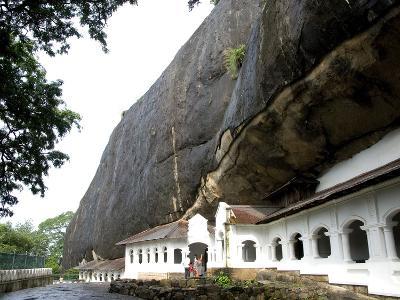 Exterior of Royal Rock Cave Temples, in Natural Caves in Granite, Dambulla, Sri Lanka, Asia