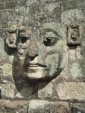 Carved Stone Face on the Steps of the East Court, Copan Archaeological Park, Honduras