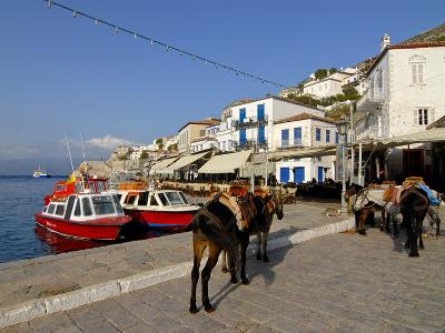 Small Boats in the Harbour of the Island of Hydra, Greek Islands, Greece, Europe