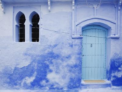 Blue Wall, Doorway and Window, Chefchaouen, Morocco, North Africa, Africa