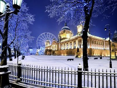 Belfast's City Hall in the Snow at Dusk