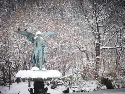 Angel of the Waters Fountain in Central Park after a Snow Storm