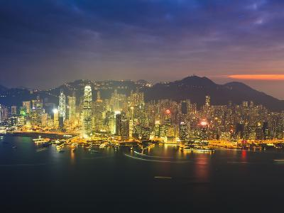High View of the Hong Kong Island Skyline and Harbour at Sunset, Hong Kong, China, Asia