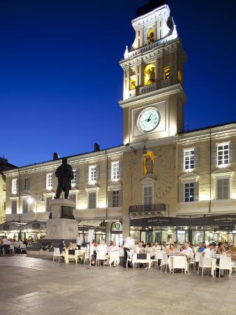 Piazza Garibaldi and Palazzo Del Govenatore at Dusk, Parma, Emilia Romagna, Italy, Europe