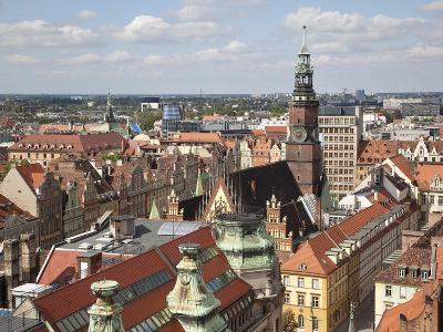 Old Town Rooftops Viewed from Marii Magdaleny Church, Wroclaw, Silesia, Poland, Europe