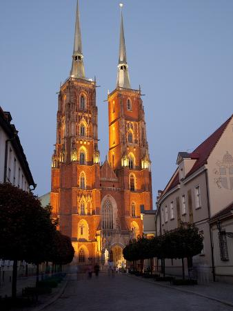 Cathedral at Dusk, Old Town, Wroclaw, Silesia, Poland, Europe