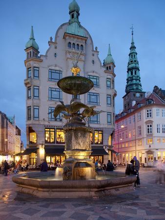 Nikolaj Church and Restaurants at Dusk, Armagertorv, Copenhagen, Denmark, Scandinavia, Europe