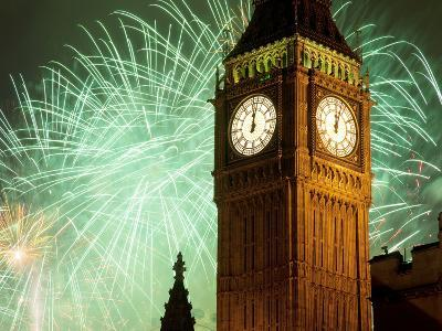 New Year Fireworks and Big Ben, Houses of Parliament, Westminster, London, England, United Kingdom,
