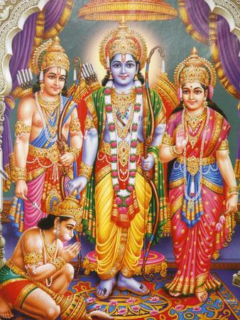 Picture of Hindu Gods Laksman, Rama, Sita and Hanuman, India, Asia